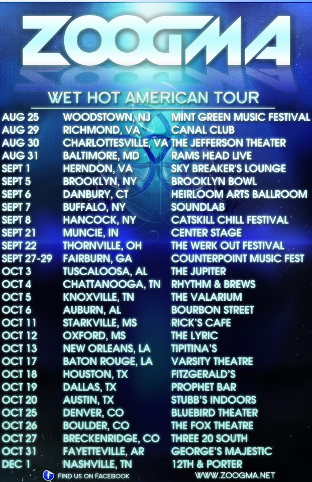 ZOOGMA – WET HOT AMERICAN TOUR 2012